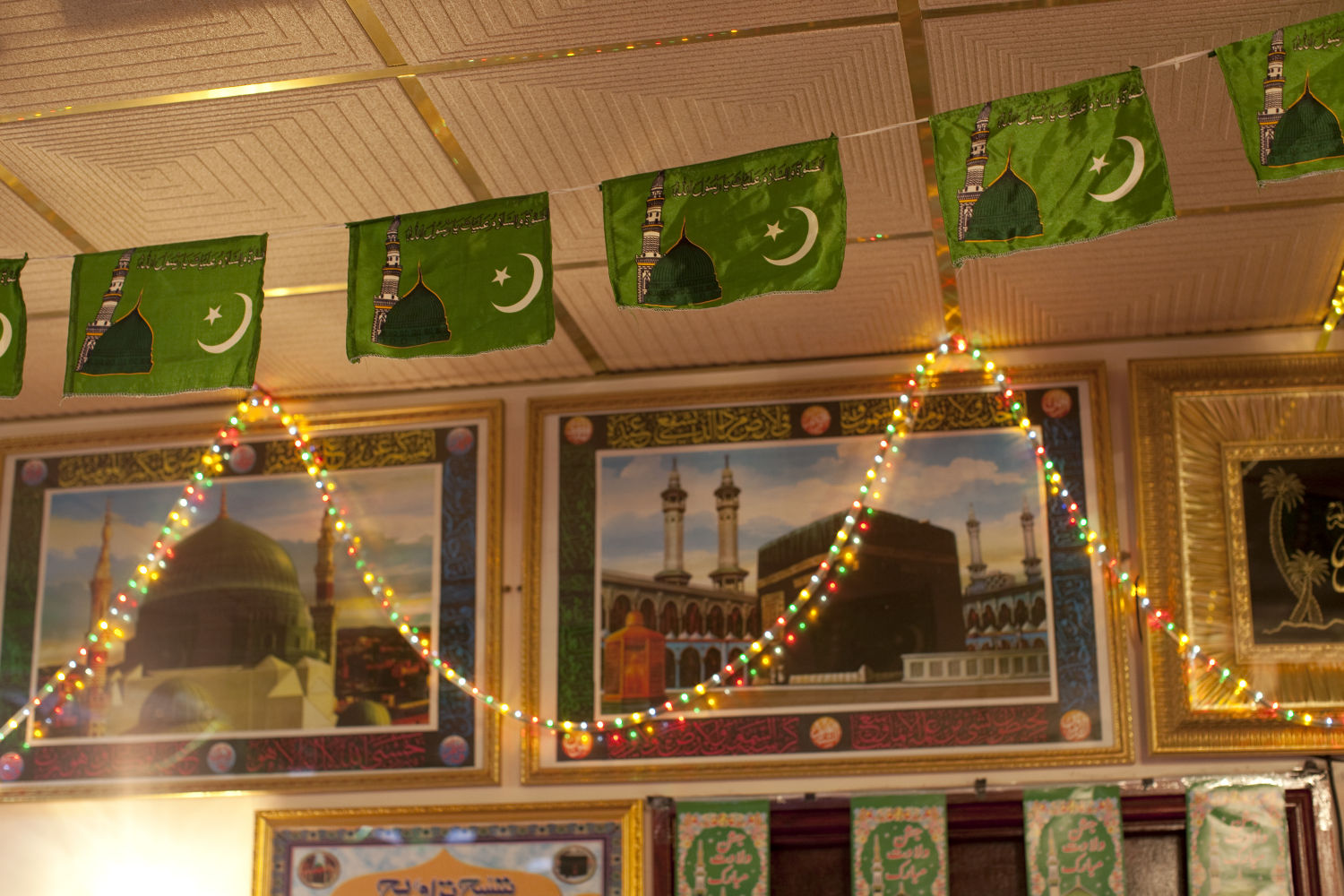 Mosque with fairy lights © Mahtab Hussain - The Quiet Town of Tipton