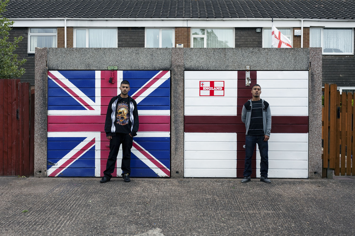 St Georges Cross, Union Jack and two Asians © Mahtab Hussain - You Get Me_